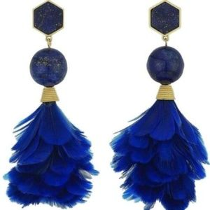 NWT $178 Tory Burch Stone & Feather Drop Earrings